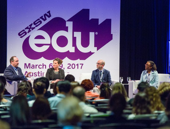 SXSW EDU featured session, Investing in Teachers as Innovators with Elliott Witney, Juan Cabrera, Molly McMahon, Valerie Lewis. Photo by Akash Kataria.