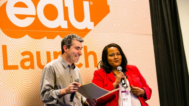 SXSW EDU 2017 Launch competition emcees, Richard Culatta and Rafranz Davis. Photo by Diego Donamaria.