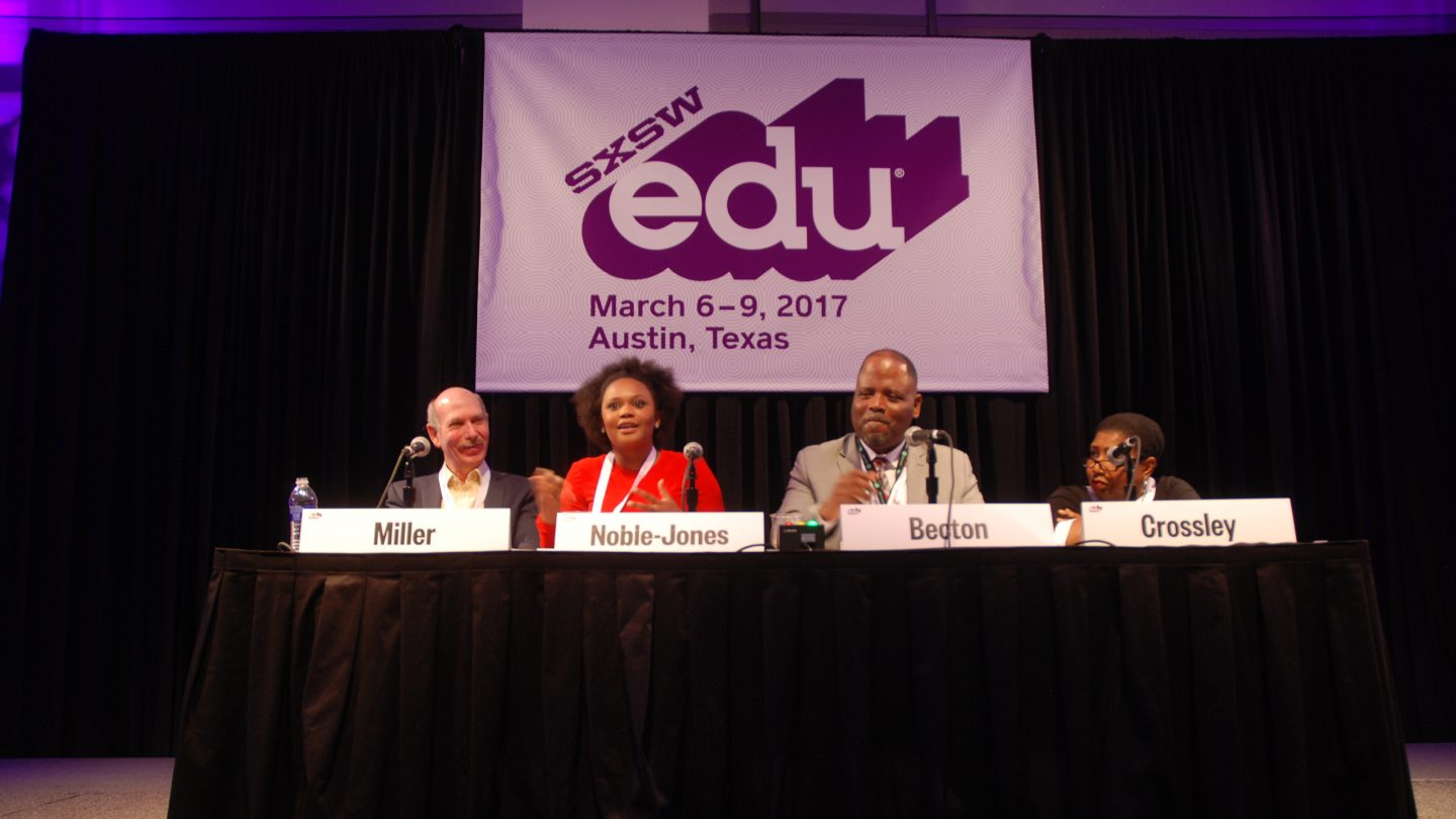 SXSW EDU 2017 Session, Facing Ferguson: A News Literacy Case Study, speakers (l-r) Alan Miller, Brittany Noble-Jones, Steve Becton and Callie Crossley.