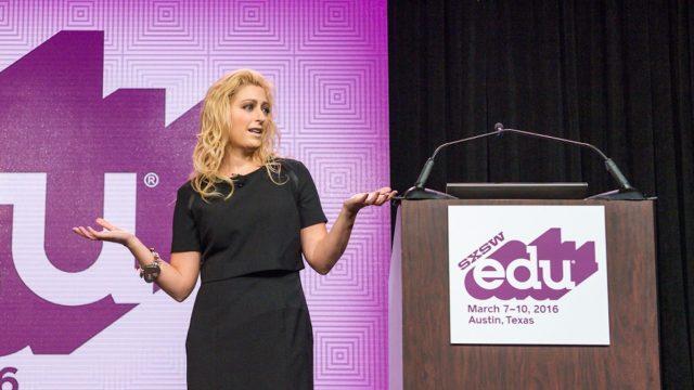 SXSW EDU 2016 keynote, Jane McGonigal, How to Think (and Learn) Like a Futurist. Photo by Rob Santos.