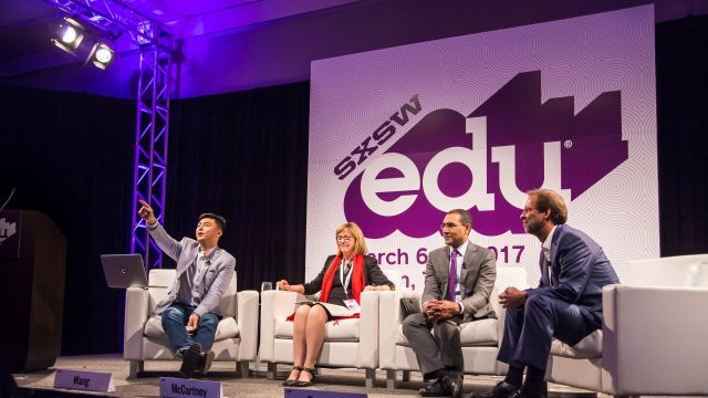 SXSW EDU 2017 Featured Session, Liberal Arts 2.0: The Role of Colleges in Society, with Daniel Porterfield, Kathleen McCartney, Sean Decatur, Z Michael Wang.
