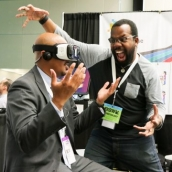 SXSW EDU 2017 attendees trying AR/VR in the Playground. Photo by Benedict Jones.
