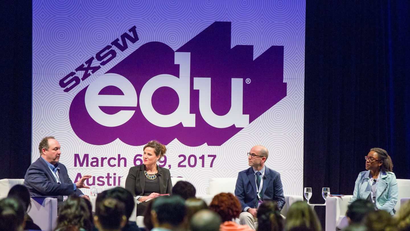 SXSW EDU 2017 featured session, Investing in Teachers as Innovators featuring, Elliott Witney, Juan Cabrera, Molly McMahon, Valerie Lewis. Photo by Akash Kataria.