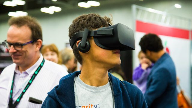 Student trying VR tech during SXSW EDU 2017. Photo by Kit McNeil.