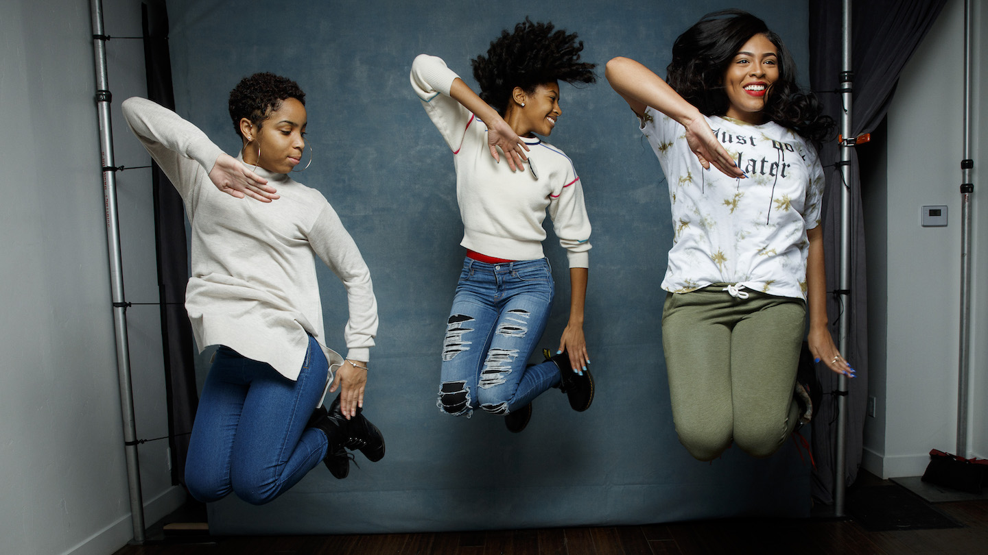 Step team members Tayla Solomon, Cori Granger, and Blessin Giraldo, from the documentary film,