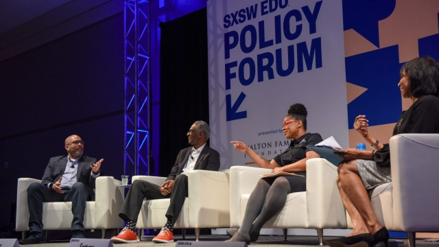 Howard Fuller, Margaret Fortune, Chris Stewart, and Rehema Ellis – SXSW EDU 2018, Black Education In America, Policy Forum session. Photo by Tico Mendoza.