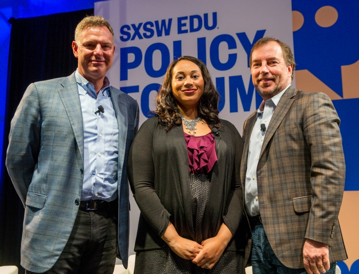 SXSW EDU 218 Policy Forum session, From DC to Memphis: Solving the #StudentDebtCrisis with U.S. Rep. Scott Peters, Alex Smith, and Scott Thomspon.