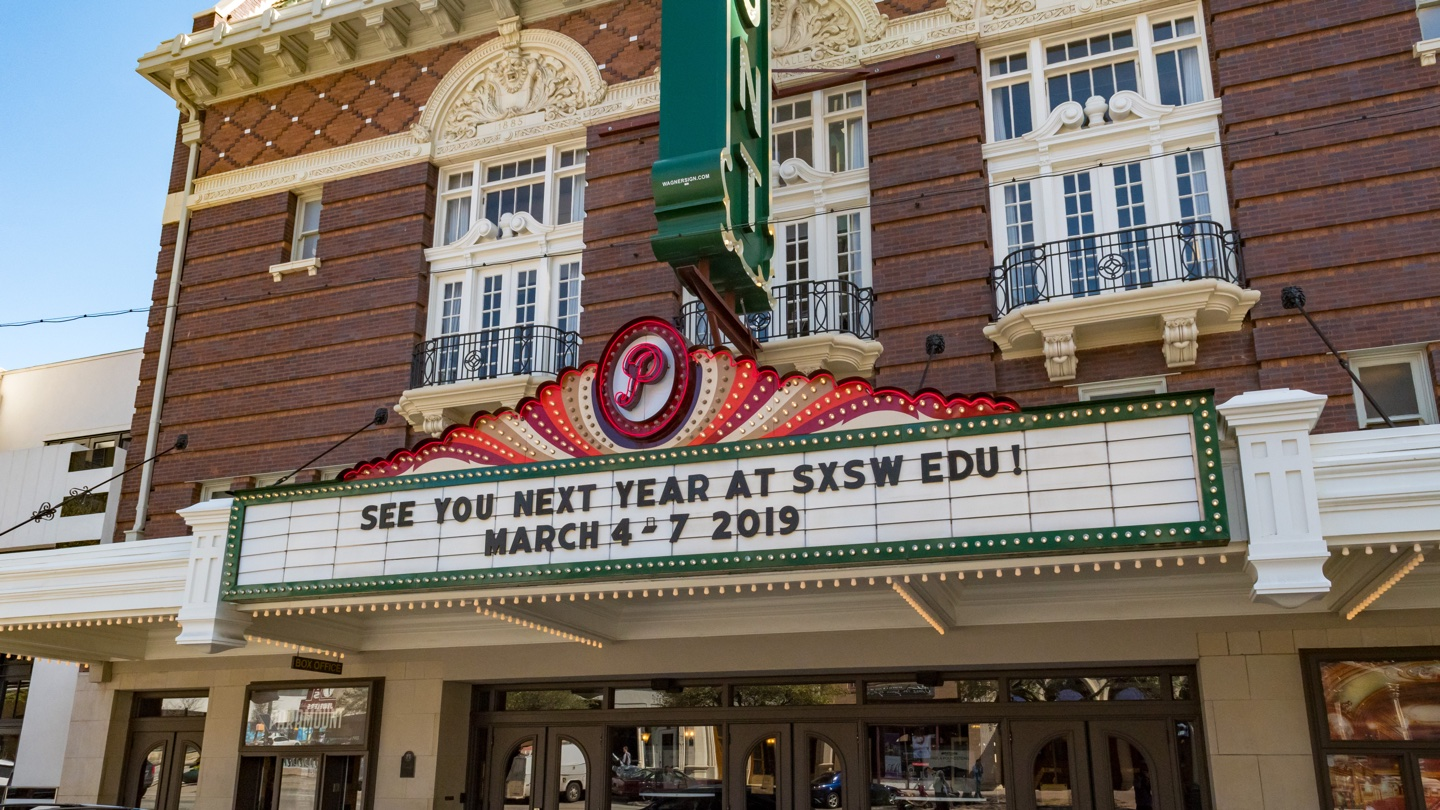 SXSW EDU 2019 Paramount marquee photos. Presale badges for March 4-7.
