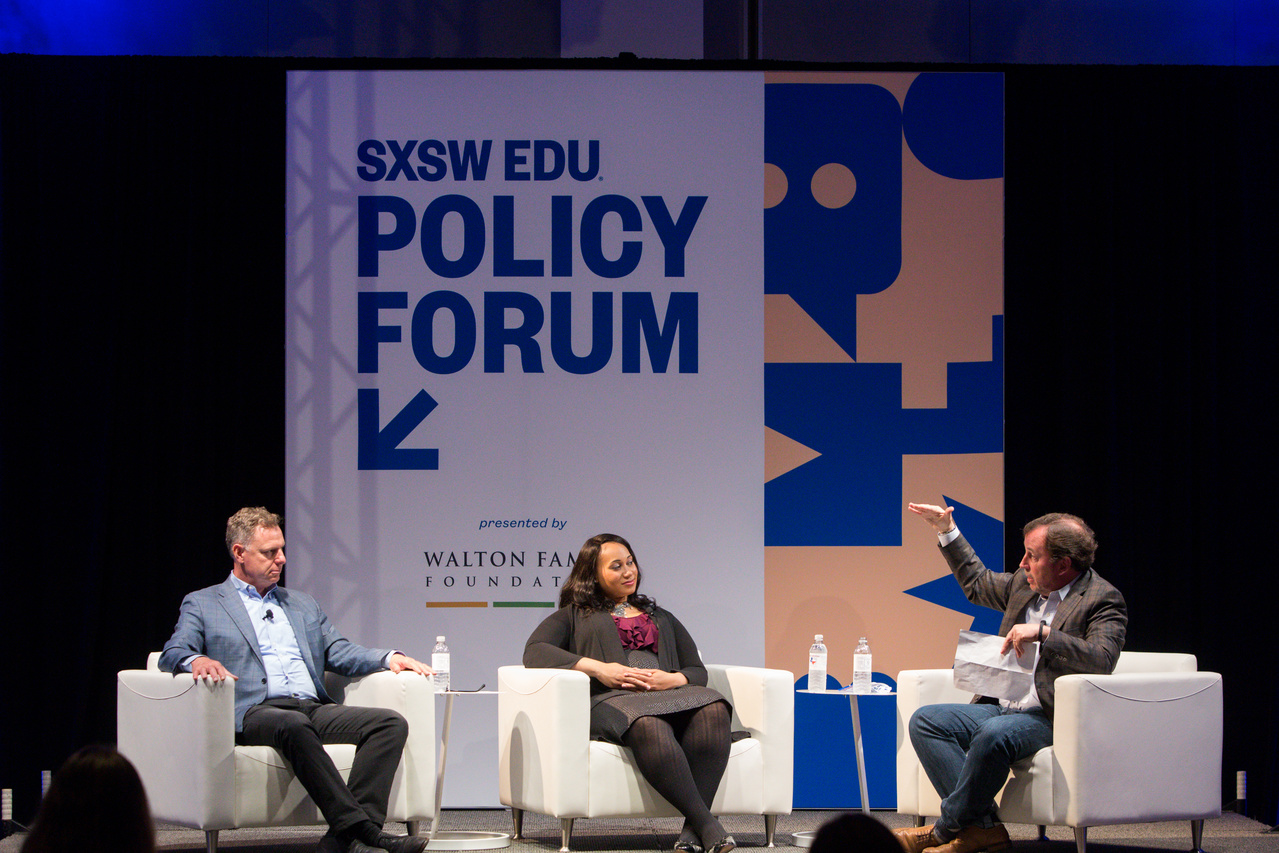 Scott Peters, Alex Smith, and Scott Thompson, SXSW EDU 2018 Policy Forum session, From DC toMemphis: Solving the#StudentDebtCrisis. Photo By Steve Rogers.