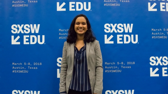 Westwood High Schooler, Aarushi Machavarapu, SXSW EDU 2018 Student Startup Competition Winner. Photo by Amanda Stronza.