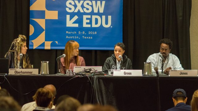 SXSW EDU 2018 panel, Let's Teach About Race, featuring Akiea Gross (Equitable Schools), Timothy Jones (HipHopEd), Tierney Oberhammer (Flocabulary), and Yvonne Tackie (Friendship Public Charter Schools).