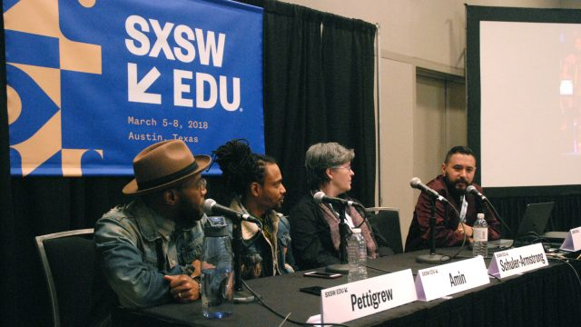 SXSW EDU 2018 panel, Soundtrack 63: Social Justice through Music & Tech, featuring Asante Amin, Chenits Pettigrew, Peg Schuler-Armstrong, and Armando Somoza.