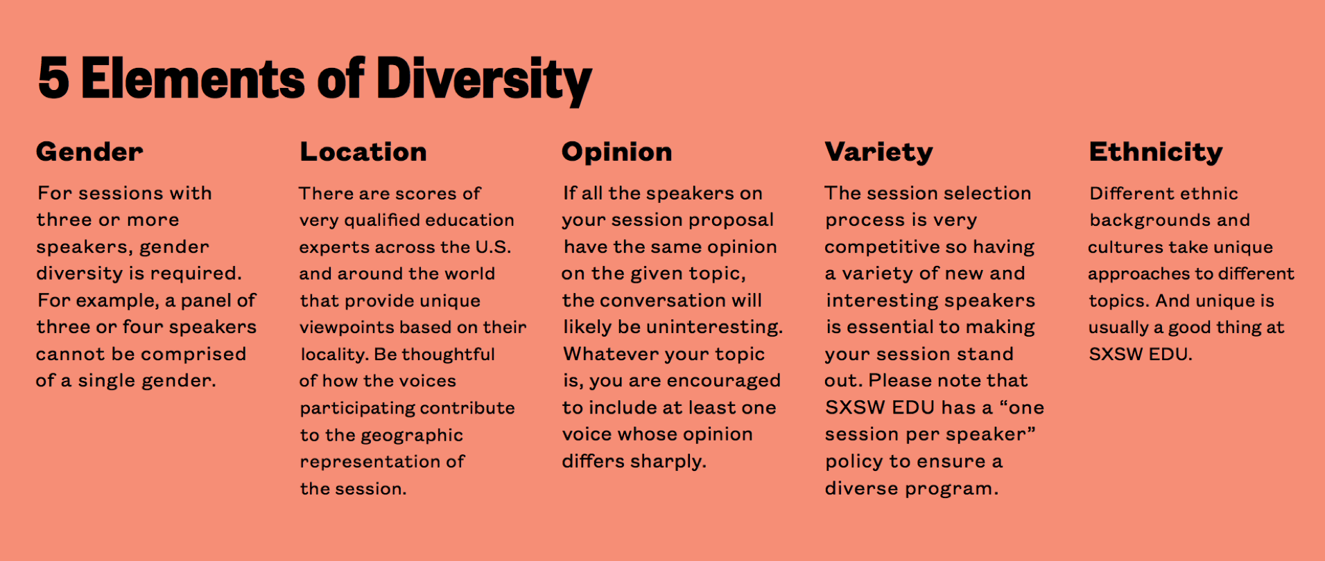 SXSW EDU 2019 PanelPicker Five Elements of Diversity.