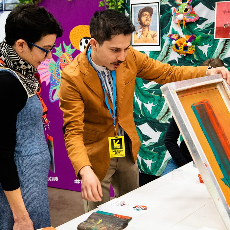 Mexic-Arte Screen Printing at the SXSW EDU 2019 Playground. Photo by Kit McNeil.