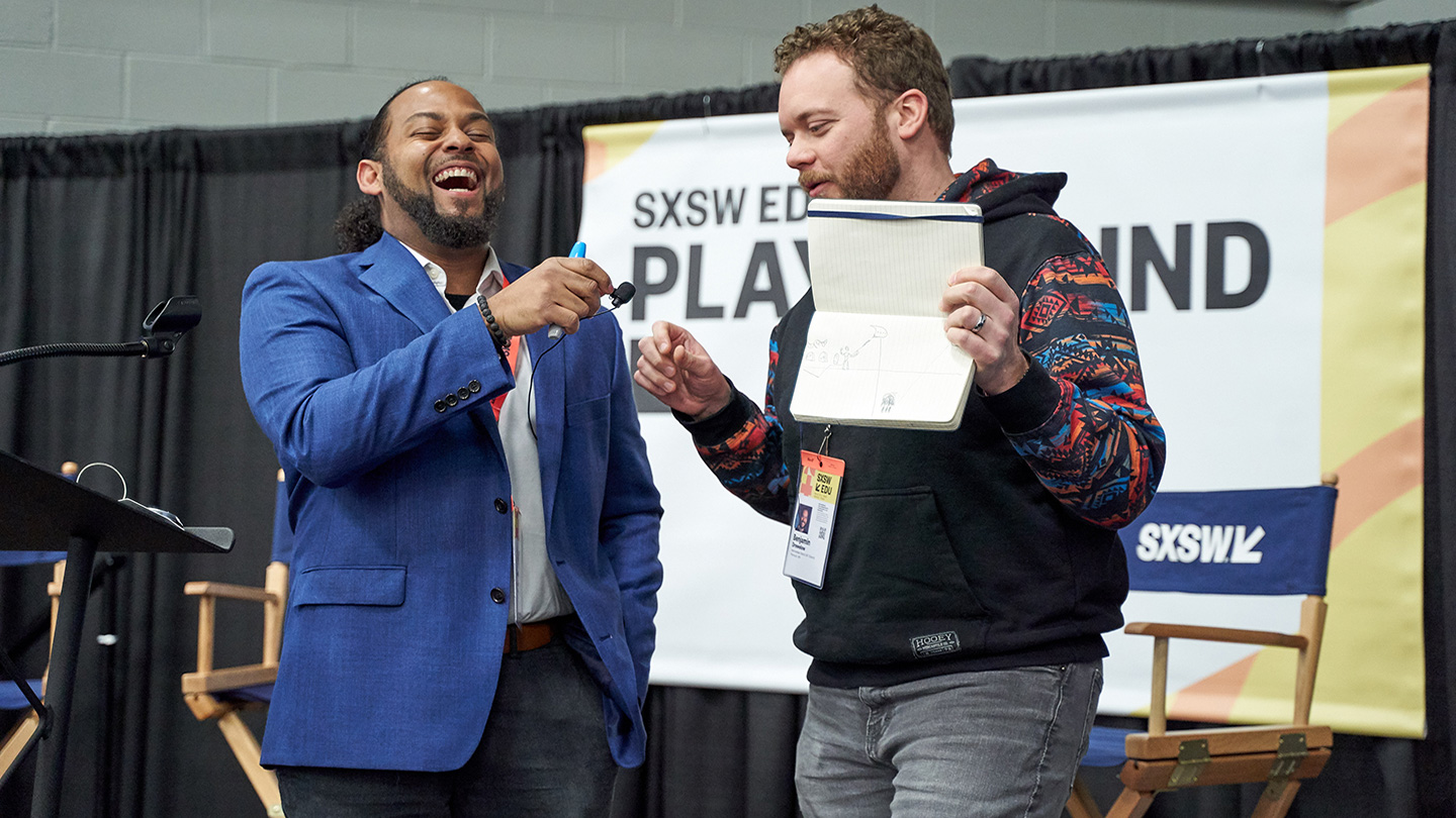The Shape of Stories: Unleash Your :60 Storyteller with Jarrad Henderson in the SXSW EDU 2019 Playground. Photo by Naveed Parekh.