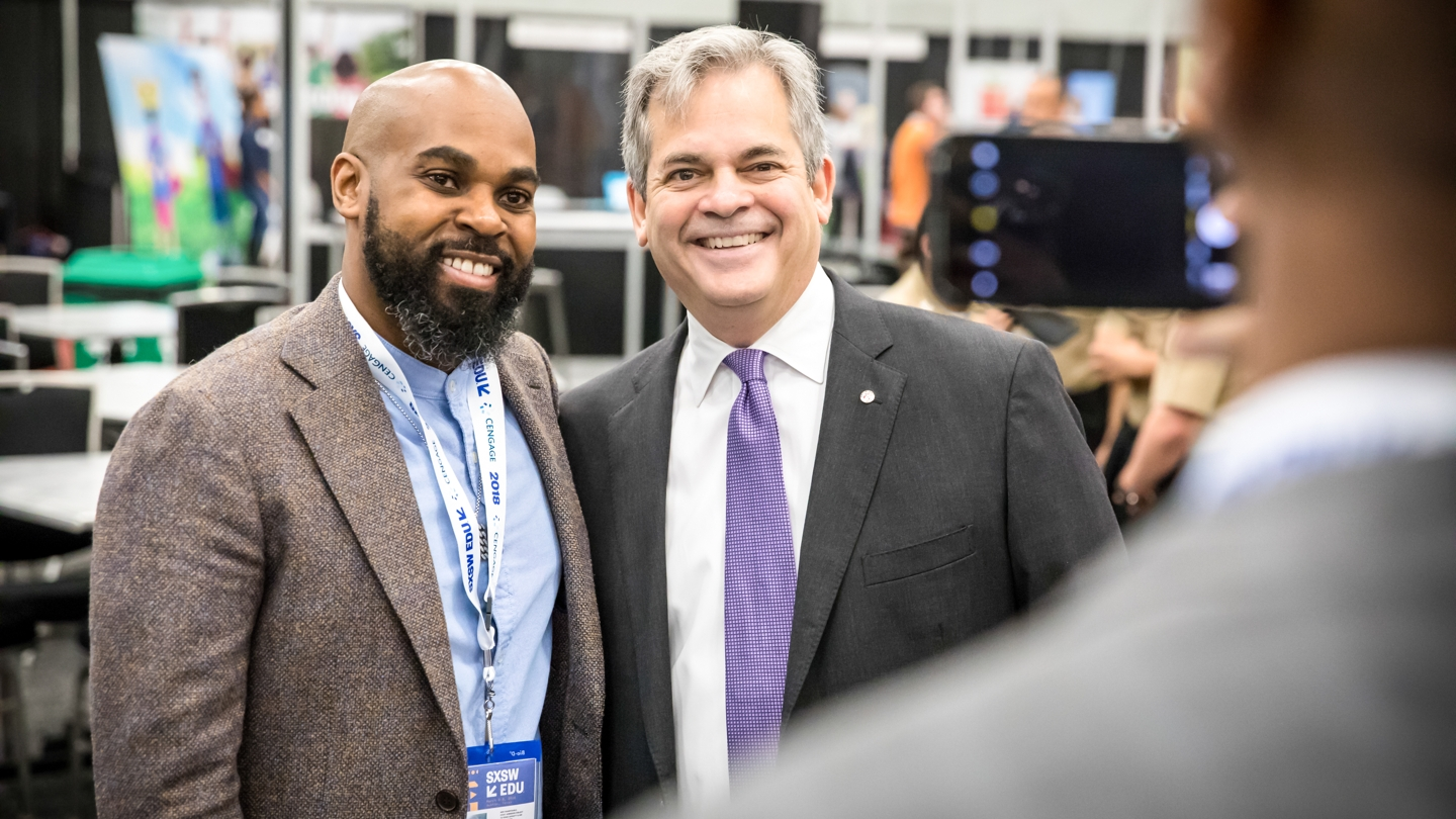 Austin Mayor Meet Up with Steve Adler at SXSW EDU 2018 Expo. Photo by Bob Johnson.