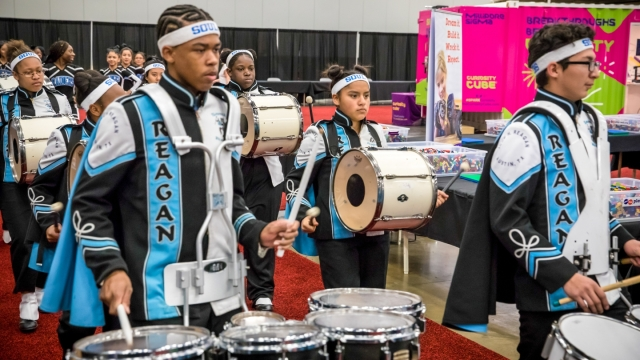 Student Drum Line in the Expo. Photo by Bob Johnson.