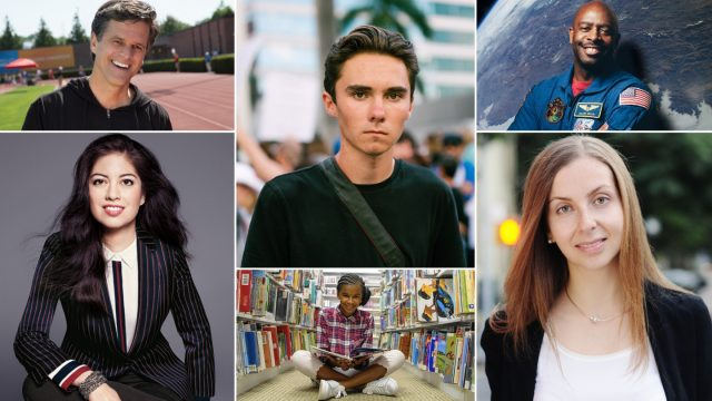SXSW EDU Featured Speakers Tim Shriver, Natalia Oberti Noguera, Leland Melvin, David Hogg, Marley Dias, and Maria Konnikova.