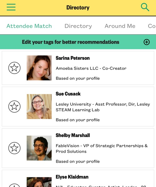 SXSW EDU 2019 mobile app attendee matches.