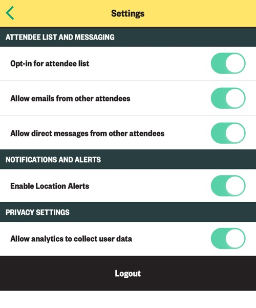 SXSW EDU 2019 mobile app settings.