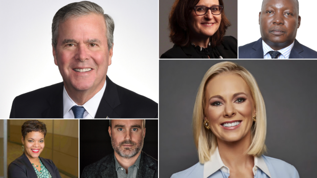 Jeb Bush, Laura Meckler, Edward Ssebukyu, Kafi Kumasi, Stayton Bonner, and Margaret Hoover.