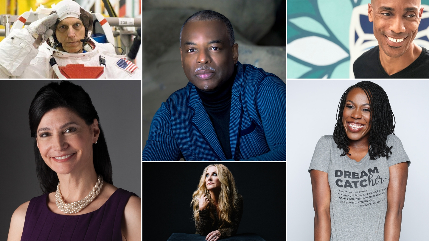Clayton Anderson, LeVar Burton, Kamau Bobb, Lily Eskelsen Garcia, Lee Ann Womack, and Tiffany Aliche.
