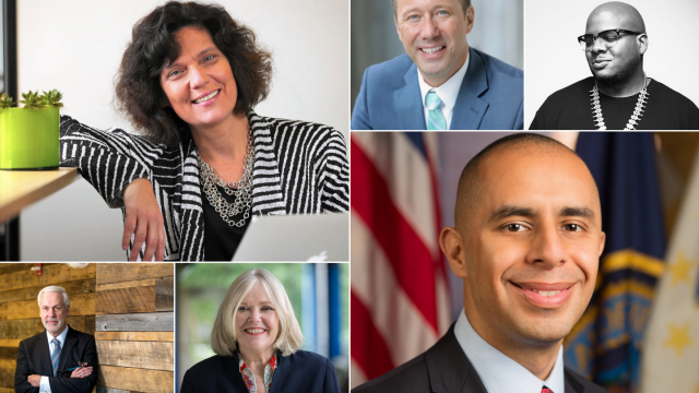 SXSW EDU 2019 speakers (t-b, l-r) Connie Yowell, ayor Shane Bemis, Rob English, Paul LeBlanc, Jane Oates, and Mayor Jorge Elorza.