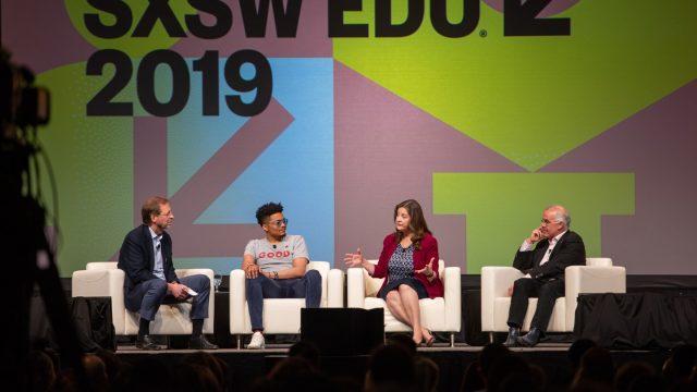 SXSW EDU 2019 keynote, Building Community: Weaving America's Social Fabric with Darius Baxter, David Brooks, Lisa Fitzpatrick, and Dan Porterfield.