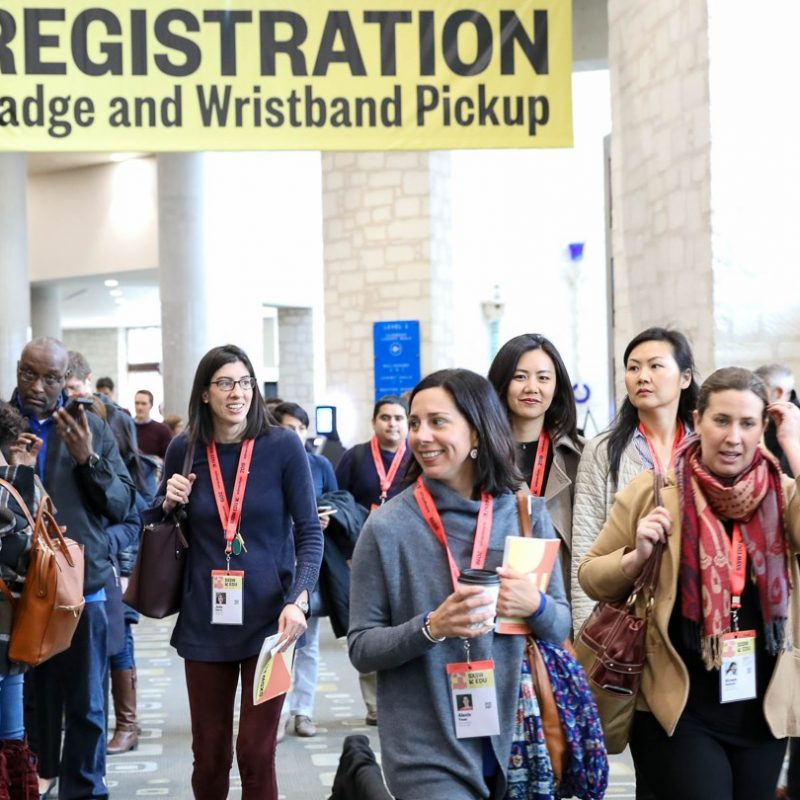 SXSW EDU 2019 Attendees picking up registration badge.