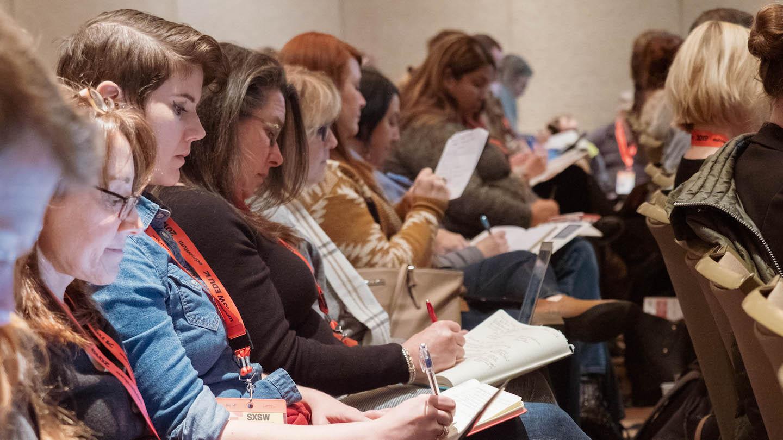 SXSW EDU 2019 session, audience taking notes.