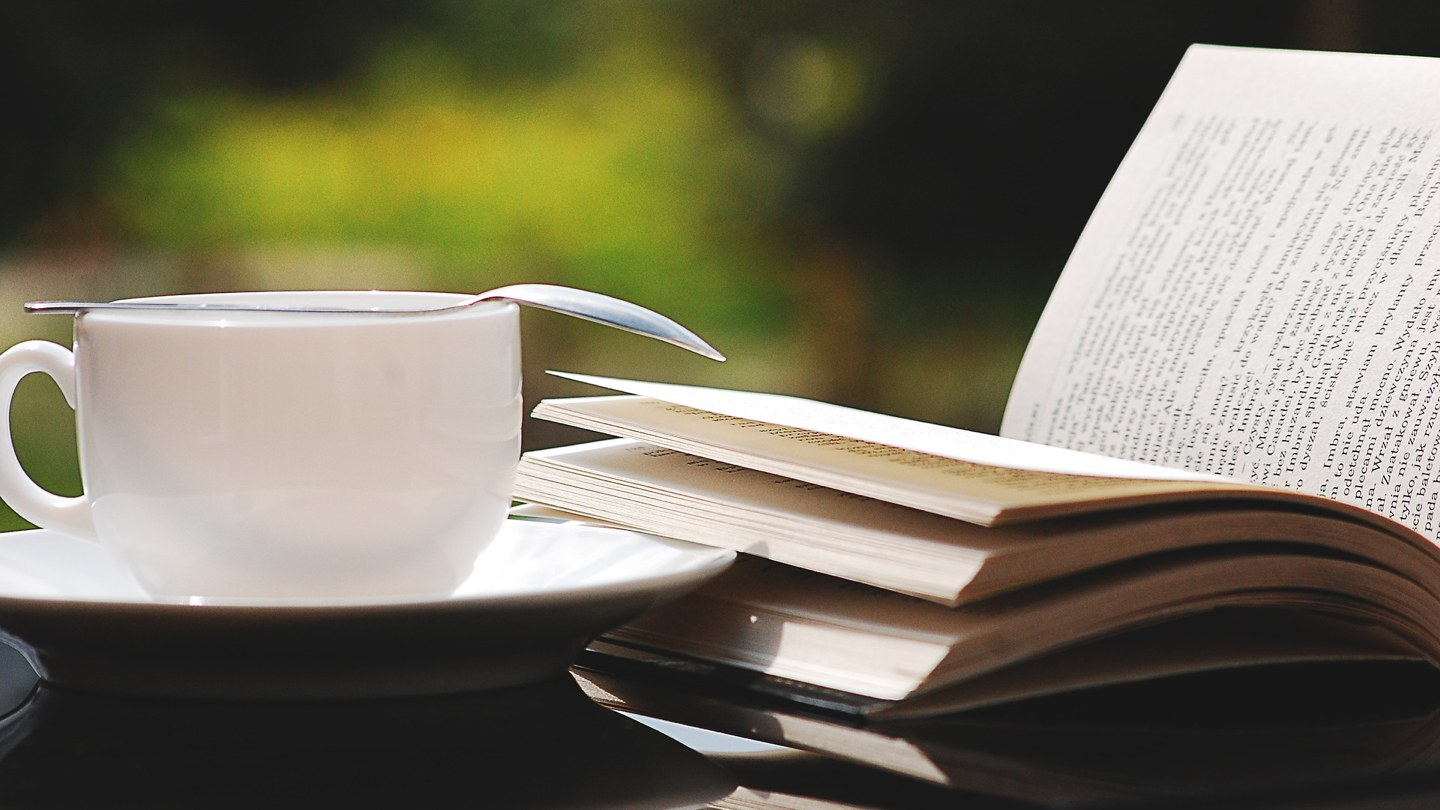 Book and coffee photo.