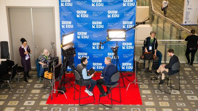 Video interview at SXSW EDU 018. Photo by Steve Rogers.