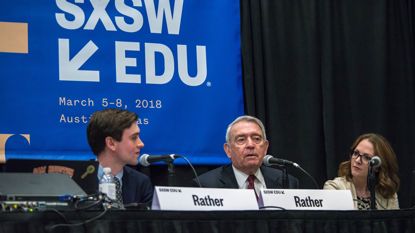 Dan Rather, Martin Rather, and Katie Landaverde at SXSW EDU 2018. Photo by Amanda Stronza.