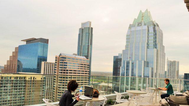 Working on the Hilton Austin Downtown hotel balcony. Photo by Nicole Burton.