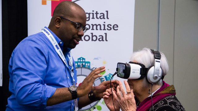 Trying VR headset during the SXSW EDU 2018 Playground exhibition. Photo by Kit McNeil.